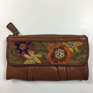 Fossil Leather Floral Wallet